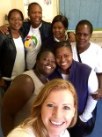 Mary, Viwe, Asanda, Fezeka, Nozi, Nontando, and Colleen at one of the mothers2mothers clinics in Khayelitsha township.